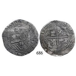 Potosí, Bolivia, cob 8 reales, Philip II, P-B (3rd period).