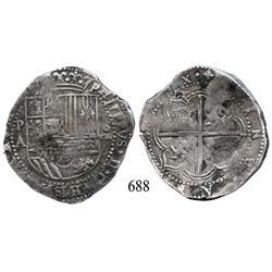 Potosí, Bolivia, cob 8 reales, Philip II, P-A.