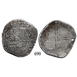 Potosí, Bolivia, cob 8 reales, Philip II, P-B (4th period).