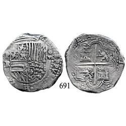 Potosí, Bolivia, cob 8 reales, Philip II, P-RL.