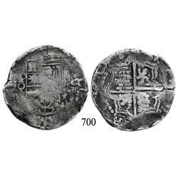 Potosí, Bolivia, cob 8 reales, Philip III, P-Q.