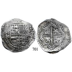 Potosí, Bolivia, cob 8 reales, Philip III, P-M.