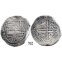 Potosí, Bolivia, cob 8 reales, 1618T, quadrants of cross transposed.