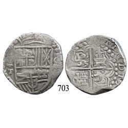 Potosí, Bolivia, cob 8 reales, (1)621T, quadrants of cross transposed.