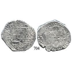 Potosí, Bolivia, cob 8 reales, (16Z)IIIIP (1624 date), quadrants of cross transposed, possibly uniqu