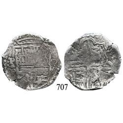 Potosí, Bolivia, cob 8 reales, 1628P, rare assayer for date.