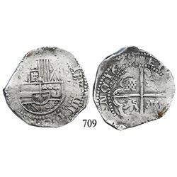 Potosí, Bolivia, cob 8 reales, 1629T.