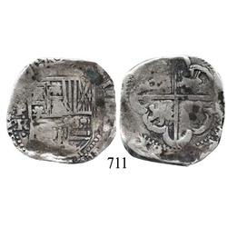 Potosí, Bolivia, cob 8 reales, Philip IV, P•TR• (large monogram, late 1630s to early 1640s), scarce.