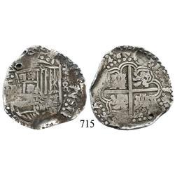 Potosí, Bolivia, cob 8 reales, (16)46, assayer not visible, rare.