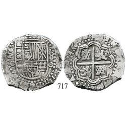 Potosí, Bolivia, cob 8 reales, 1650O, no countermark (rare).