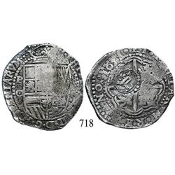 Potosí, Bolivia, cob 8 reales, 1651O, with crowned-L countermark on cross.