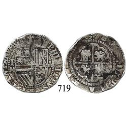 Potosí, Bolivia, cob 4 reales, Philip II, P-M to left, rare.