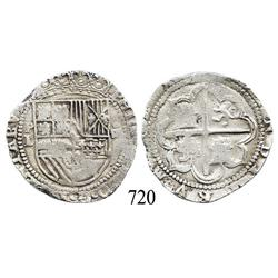 Potosí, Bolivia, cob 4 reales, Philip II, P-L to left (1st period), scarce.