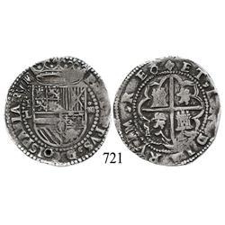 Potosí, Bolivia, cob 4 reales, Philip II, P-L to left (2nd period), scarce.