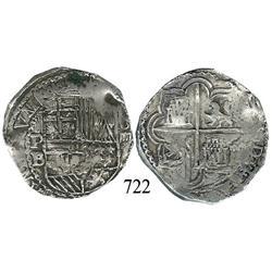 Potosí, Bolivia, cob 4 reales, Philip II, P-B (5th period), borders of x's.