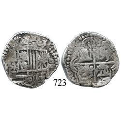 Potosí, Bolivia, cob 4 reales, Philip II, P-B (5th period).