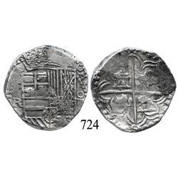 Potosí, Bolivia, cob 4 reales, Philip III, P-R (curved leg).