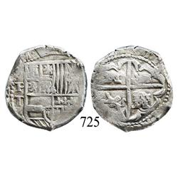Potosí, Bolivia, cob 4 reales, Philip IV, P-T (early to mid-1620s).