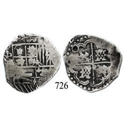 Potosí, Bolivia, cob 4 reales, Philip IV, (16)2(?), assayer not visible, quadrants of cross transpos