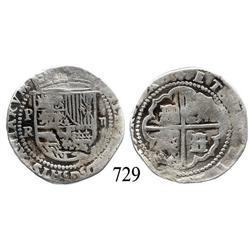 Potosí, Bolivia, cob 2 reales, Philip II, assayer Rincón, scarce.