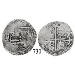 Potosí, Bolivia, cob 2 reales, Philip II, P-L/L/? (2nd period).