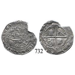 "Potosí, Bolivia, cob 2 reales, Philip II, P-B (2nd period), ""Great Module."""