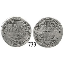 Potosí, Bolivia, cob 2 reales, Philip II, P-B (2nd period).