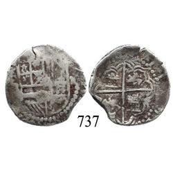 Potosí, Bolivia, cob 2 reales, Philip II or III, P-B (5th period) or R (curved leg).