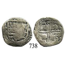 Potosí, Bolivia, cob 2 reales, Philip III, assayer not visible.
