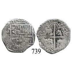 Potosí, Bolivia, cob 2 reales, 1617M, rare.
