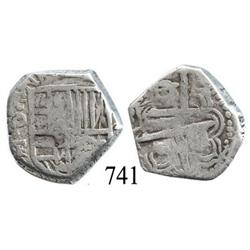 Potosí, Bolivia, cob 2 reales, Philip IV, P-T (mid- to late 1620s).