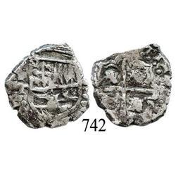 Potosí, Bolivia, cob 2 reales, Philip IV, P-T (ca. 1640).