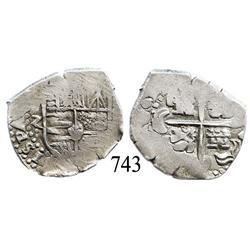 Potosí, Bolivia, cob 2 reales, Philip IV, (P)-Z (1647-49), scarce.