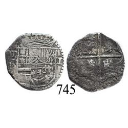 Potosí, Bolivia, cob 1 real, Philip II, assayer not visible (style of 3rd-period B).