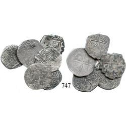 Lot of 6 Potosí, Bolivia, cob 1 reales, Philip II-IV, assayers not visible.
