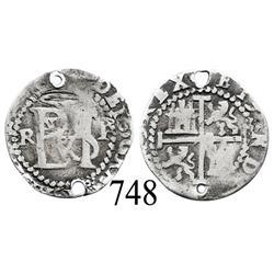 Potosí, Bolivia, cob ½ real, Philip II, R (Rincón) to left, P to right, scarce.