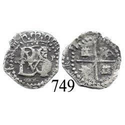 Potosí, Bolivia, cob ½ real, Philip II, small R (Ramos) to left, P to right, scarce.