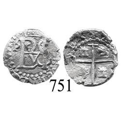 Potosí, Bolivia, cob ½ real, Philip III, P to left, no assayer.
