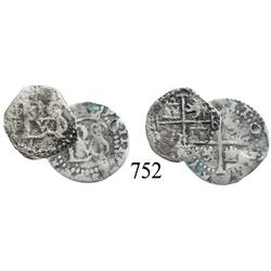 Lot of 2 Potosí, Bolivia, cob ½ reales of Philip III, assayer R (curved leg) and no assayer.