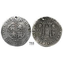 Potosí, Bolivia, cob 8 reales Royal, 1660E, very rare.
