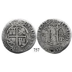 Potosí, Bolivia, cob 8 reales Royal, 1665E, extremely rare.