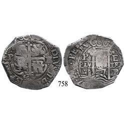 Potosí, Bolivia, cob 8 reales, 1667E, Charles II, unique error with O/L in king's name.