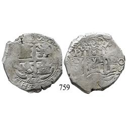 Potosí, Bolivia, cob 8 reales, 1667E, Charles II.