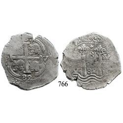 Potosí, Bolivia, cob 8 reales, 1682V.