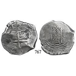 Potosí, Bolivia, cob 8 reales, 1693VR.