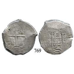 Potosí, Bolivia, cob 8 reales, 1697VR, possible 7/6 overdate (unique).
