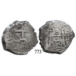 Potosí, Bolivia, cob 8 reales, 1754C+q, rare.