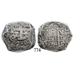Potosí, Bolivia, cob 8 reales, 1764V-Y.