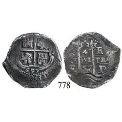 Potosí, Bolivia, cob 4 reales, 1657E.