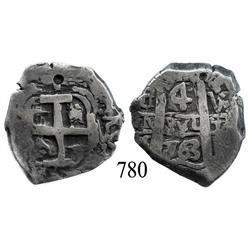 Potosí, Bolivia, cob 4 reales, 1763V-(Y).